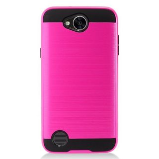 Insten Hot Pink/  Black Chrome Hard Plastic Dual Layer Hybrid Brushed Case Cover For LG X Power 2