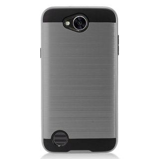 Insten Gray/  Black Chrome Hard Plastic Dual Layer Hybrid Brushed Case Cover For LG X Power 2
