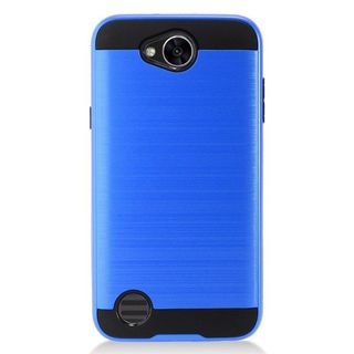 Insten Blue/  Black Chrome Hard Plastic Dual Layer Hybrid Brushed Case Cover For LG X Power 2