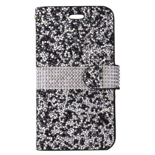 Insten Black/ Silver Leather Diamond Bling Case Cover For Samsung Galaxy J7 (2017)
