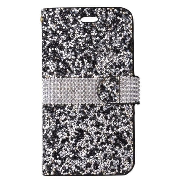 Shop Insten Black/ Silver Leather Diamond Bling Case Cover