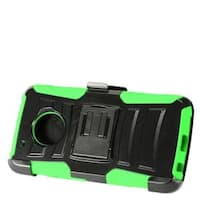 Insten Black/  Green Advanced Armor Hard PC/   Silicone Dual Layer Hybrid Case with Stand/  Holster For Motorola Moto G5 Plus