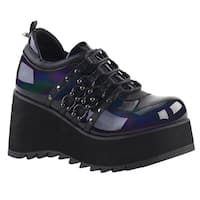 DEMONIA SCENE-31 Women's Lace Up Horseshoe Ring Wedge Platform Sneakers