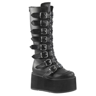 DEMONIA DAMNED-318 Women's Back Zipper Buckle Straps Knee High Boots