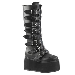DEMONIA DAMNED-318 Women's Back Zipper Buckle Straps Knee High Boots (More options available)