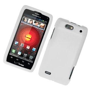 Insten White Hard Snap-on Rubberized Matte Case Cover For Motorola Droid 4