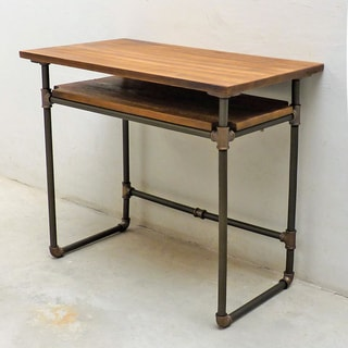 Berkeley Industrial Vintage Metal and Reclaimed Aged Wood Finish Pipe Desk with Lower Shelf