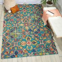 Nourison Vivid Teal Contemporary Area Rug - 8' x 10'6""