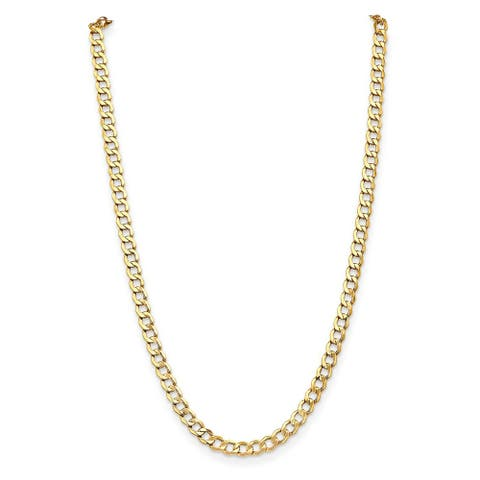 14K Yellow Gold Polished 7mm Semi-Solid Curb Link Chain by Versil
