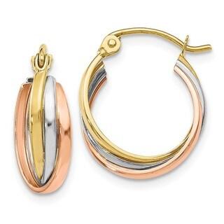 Versil 10 Karat Tri-color Polished Hinged Hoop Earrings