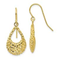 Versil 10 Karat Textured Shepherd Hook Dangle Earrings