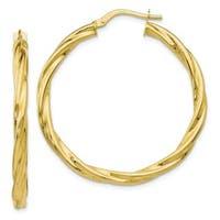 Versil 10 Karat Polished Twisted Hinged Hoop Earrings