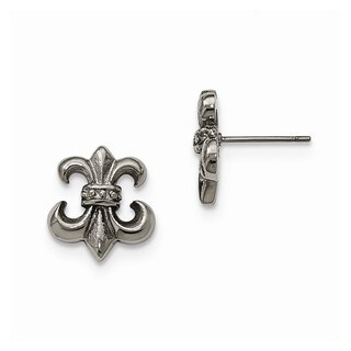 Stainless Steel Polished Fleur de Lis Post Earrings