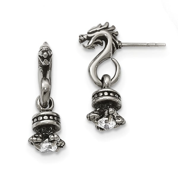 Stainless Steel Antiqued And Polished With Cz Dragon Post Earrings