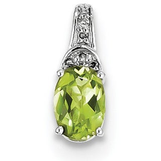 Sterling Silver Rhodium-plated Diamond & Peridot Oval Pendant With Chain