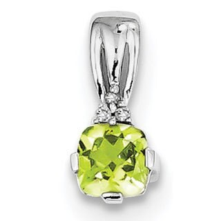 Sterling Silver Rhodium Plated Diamond Accent and Peridot Pendant With Chain