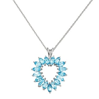 Sterling Silver Rhodium Marquise Swiss Blue Topaz Heart Pendant With Chain