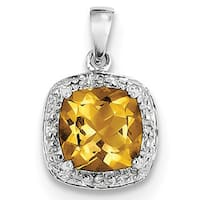 Sterling Silver Rhodium Citrine & Diamond Pendant With Chain