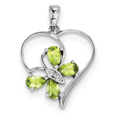 Sterling Silver Rhodium-plated Peridot and Diamond Accent Butterfly Heart Pendant with 18-inch Cable Chain by Versil