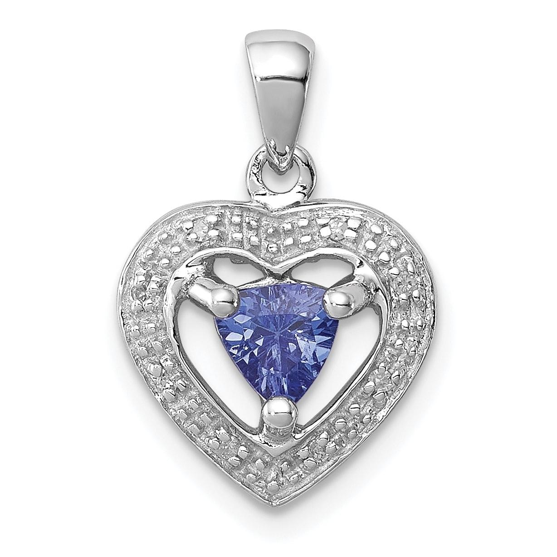 Sterling Silver Rhodium Plated Diamond and Tanzanite Oval Pendant