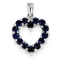 Sterling Silver Rhodium-plated Sapphire Pendant With Chain