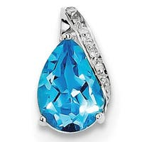 Sterling Silver Rhodium Pear Swiss Blue Topaz Pendant With Chain