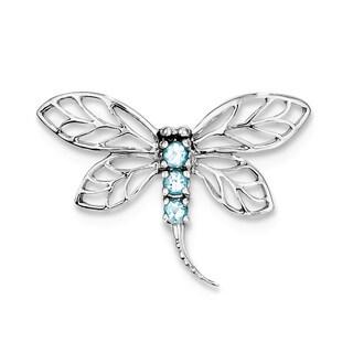 Sterling Silver Rhodim Swiss Blue Topaz Drgonfly Pendnt w/18'' Chain