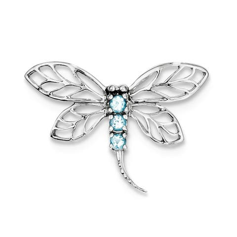 Sterling Silver Rhodium-plated Swiss Blue Topaz Dragonfly Pendant with 18-inch Cable Chain by Versil
