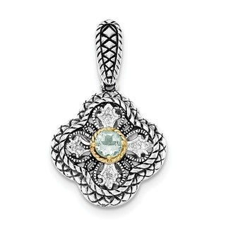 Sterling Silver Rhod. w/14k Gold Accent Qrtz and CZ Filigree Clover Pendant With Chain