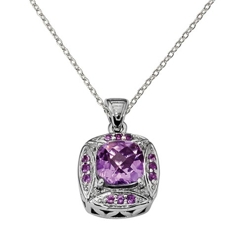 Sterling Silver Rhodium-plated Diamond Accent and Amethyst Square Pendant With Chain