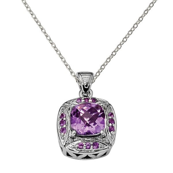 6b800e8f2 Versil Sterling Silver Rhodium-plated Diamond Accent and Amethyst Square  Pendant With Chain