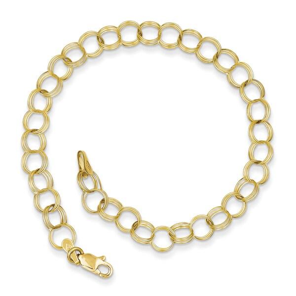 10 Karat Triple Link Charm Bracelet