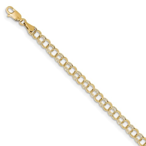 10K Yellow Gold Hollow 5mm Double Link Charm Bracelet by Versil