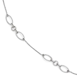 """Versil Sterling Silver Fancy Link Anklet 9"""" with 1in Extension"""