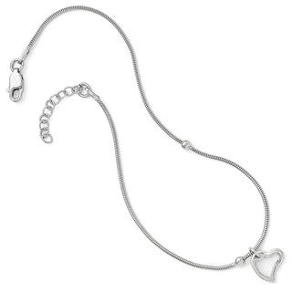 Versil Sterling Silver Polished Heart Anklet With 1in Extension