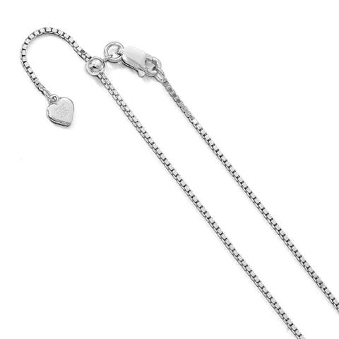 Sterling Silver Polished 11-inch Adjustable Box Chain by Versil