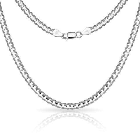 "Sterling Silver Men's Italian 6mm Concave Curb Chain Necklace (18""-30"")"