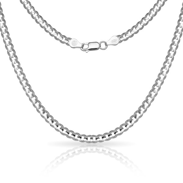 tone necklace item curb in steel stainless silver chain