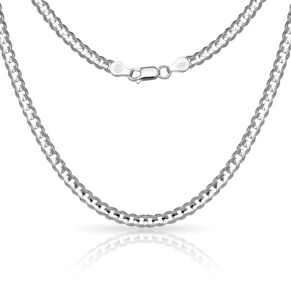 Shop Sterling Silver Men S Italian 6mm Concave Curb Chain Necklace