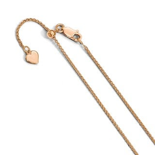 Sterling Silver 1 2 Mm Rose Gold Plated Adjustable Spiga Chain By Versil