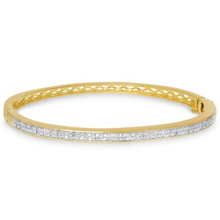 Finesque Gold over Silver or Sterling Silver 1/2ct TW Diamond Bangle