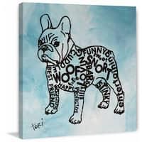 'Graphic Frenchie' Painting Print on Wrapped Canvas - Blue