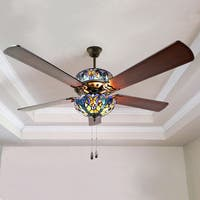 River of Goods Halston Blue Stained Glass Tiffany-style Ceiling Fan - Mahogany