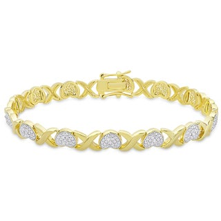 Finesque Gold Overlay Diamond Accent 'XO' Design Bracelet
