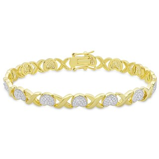 Finesque Gold Overlay Diamond Accent 'XO' Design Bracelet