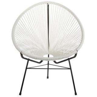 Handmade Acapulco Woven Basket Lounge Chair, White (China)
