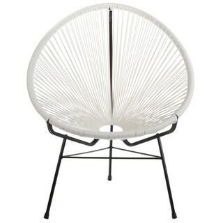 Handmade Acapulco Woven Basket Lounge Chair, White