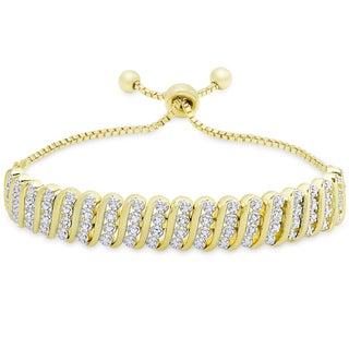 Finesque Gold Overlay 1/4ct TW Diamond 'S' Link Slider Adjustable Bracelet (I-J, I2-I3)
