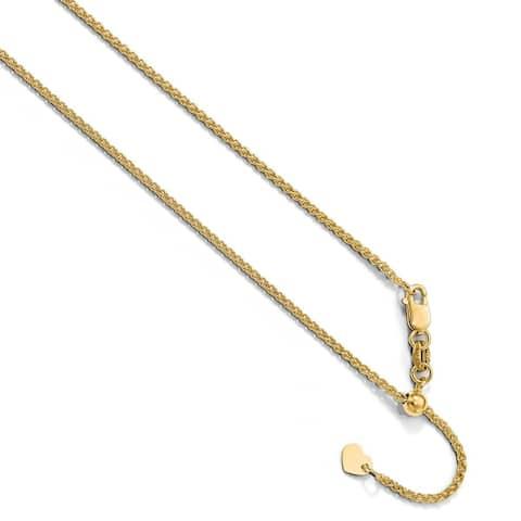 Versil 10 Karat Yellow Gold 1.35 mm Adjustable Spiga Chain