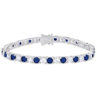 Dolce Giavonna Silver Overlay Simulated Stone and Cubic Zirconia Tennis Style Bracelet